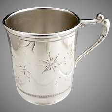 Bristol Silver baby cup engraved flowers c. 1950