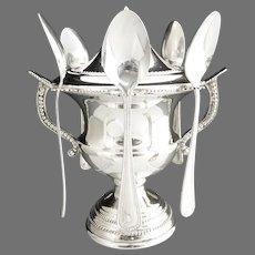 Vintage silver plate empire urn sugar spooner
