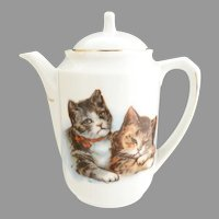 Antique German childs toy teapot cats kittens