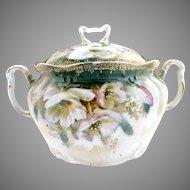Antique porcelain cracker jar white poppies c. 1890