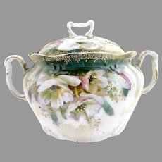 Antique porcelain cracker jar white poppies c. 1890