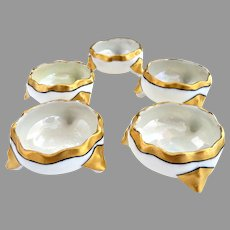 Antique Austria porcelain salt cellars gold trim Vienna c. 1900