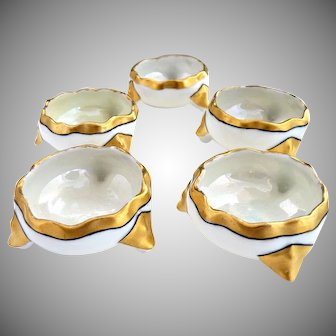 Antique Austria porcelain salt cellars gold trim Vienna c. 1900