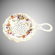 Antique Dresden porcelain tea strainer Germany