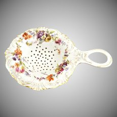 Antique Dresden porcelain tea strainer Germany