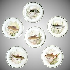 Vintage Bavaria fish butter pats set of 6