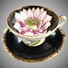 Royal Sealy Japan hand painted cup saucer set Iris