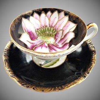 Royal Sealy Japan hand painted cup saucer set Iris