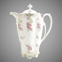 Victorian Austria porcelain chocolate pot bridal rose