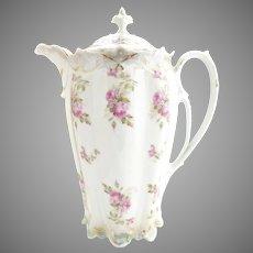 Victorian Austria porcelain chocolate pot bridal rose