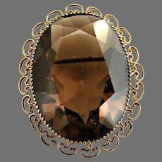 Austrian crystal topaz pin 12k gf