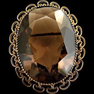 Austrian crystal topaz brooch 12k gf