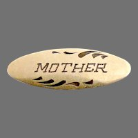 "Antique enameled ""Mother"" brass pin"