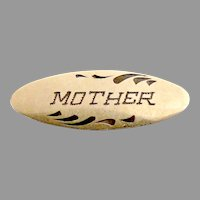 Antique Mother pin Taille d'épargne brass