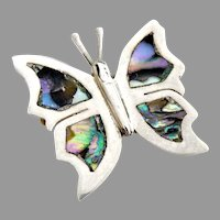 Mexican sterling silver abalone butterfly pin