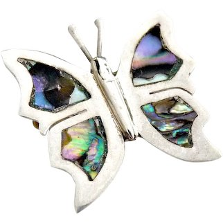 Mexican silver abalone butterfly pin