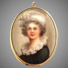 Vintage miniature LeBrun portrait porcelain pin pendant