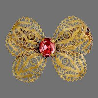 Vintage Czech filigree butterfly bow brooch pink rhinestone
