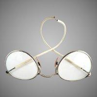 Vintage eyeglasses round frame hook bows