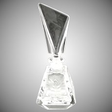 Vintage Art Deco crystal perfume bottle etched rose