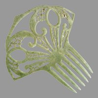 Vintage green mantilla hair comb c. 1940s wedding