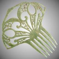 Vintage green mantilla hair comb c. 1940s