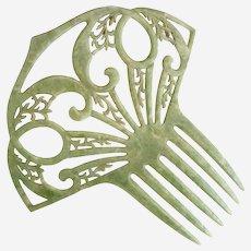 Vintage green mantilla hair comb c. 1940s wedding