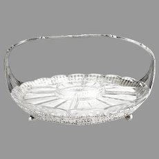 Hollandware Heisey glass relish tray c. 1920s etched flowers