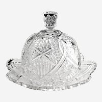 EAPG pressed glass domed butter dish church windows