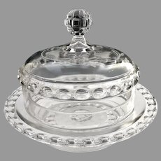 EAPG Dakota baby thumbprint etched glass butter dish  c. 1885