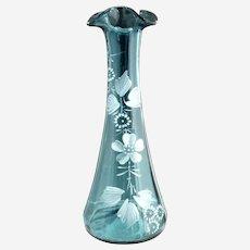 Victorian blue glass bud vase white enameling c. 1890s