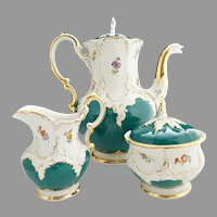 German Meissen B Form Coffee set Russian Green