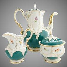 Meissen porcelain B Form Coffee set Russian Green