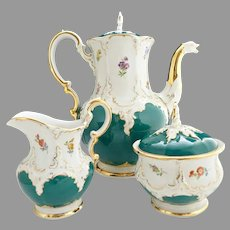 Meissen porcelain B Form Coffee set Russian Green