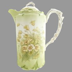 Antique Bavarian porcelain chocolate pot wildflowers