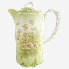 Antique Bavarian porcelain chocolate pot wildflowers