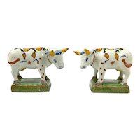 French Faience Oxen, 19th Century