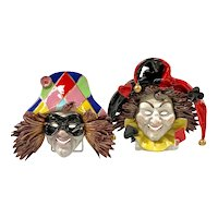 Harlequin and Jester Majolica Mask Plaques, Giovanni Danti of Florence, Italy