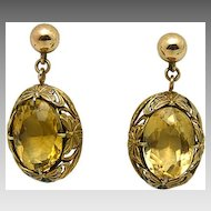 Earrings65581, 14Karat Yellow-Gold Citrine