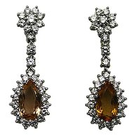 18karat White Gold, Orange Topaz and Diamond Earrings
