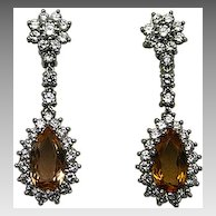 18karat White Gold, Orange Topaz and Diamond Earrings