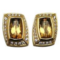 18Karat Yellow Gold Orange Topaz and Diamond Earrings, 67667