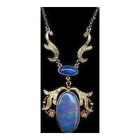 18karat Yellow-Gold Opal and Diamond Necklace