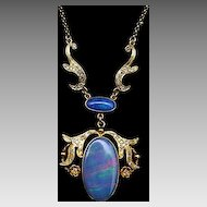 18karat Yellow-Gold Opal and Diamond Necklace