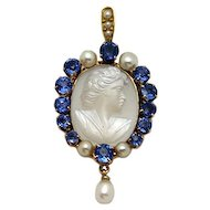 14 karat Gold Sapphire, Moonstone and Pearl Pendant