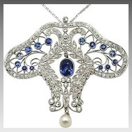 Platinum, Sapphire and Diamond Edwardian Pendant