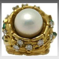 18 kt Gold Pearl, Diamond and Emerald Ring