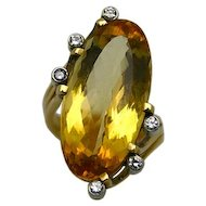 Yellow Topaz and Gold Ring