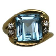 14Karat Yellow-Gold Blue Topaz and Diamond Ring