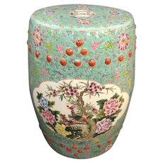 Vintage Chinese Barrel Shaped Ceramic Garden Stool / Side Table